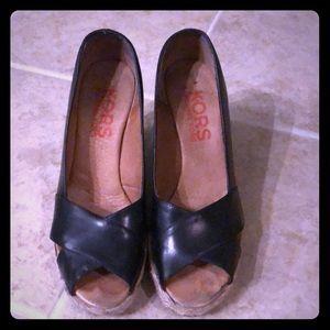 KORS black peep-toe espadrilles